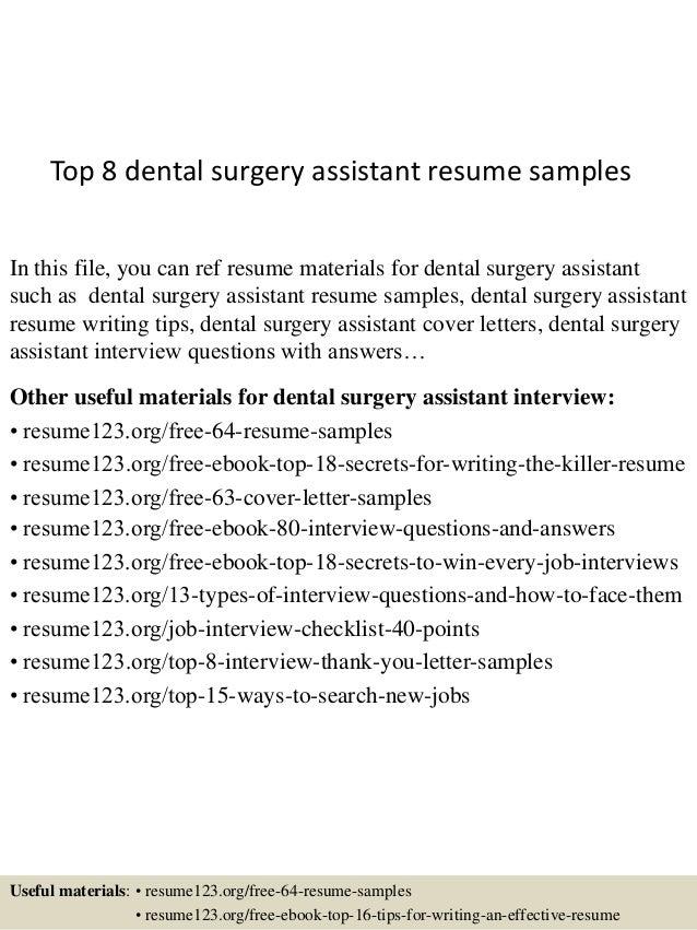 top 8 dental surgery assistant resume samples 1 638 jpg cb 1432909825