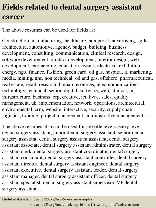 ... 16. Fields Related To Dental Surgery Assistant ...