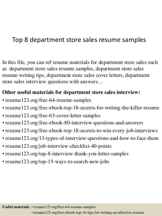 department store sales resume