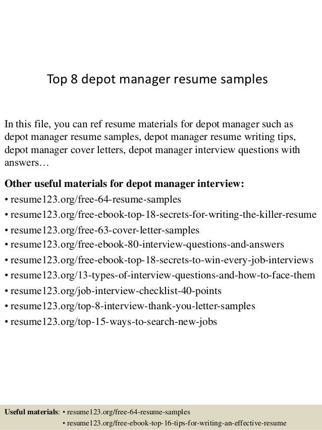Top 8 depot manager resume samples