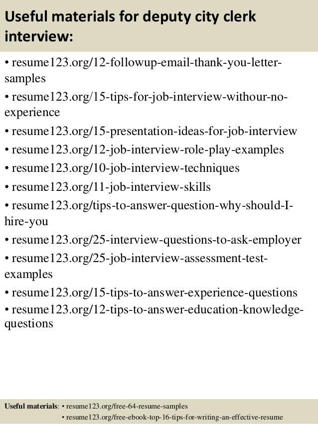 14 useful materials for deputy city clerk - Deputy City Clerk Sample Resume