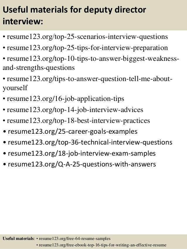 Top 8 Deputy Director Resume Samples