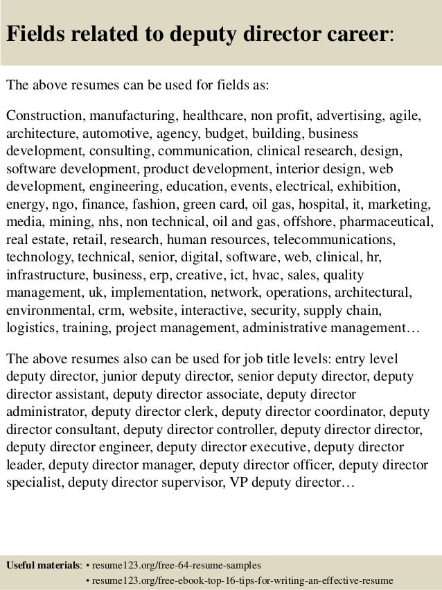 Top 8 deputy director resume samples 16 fields related to deputy director yelopaper Image collections