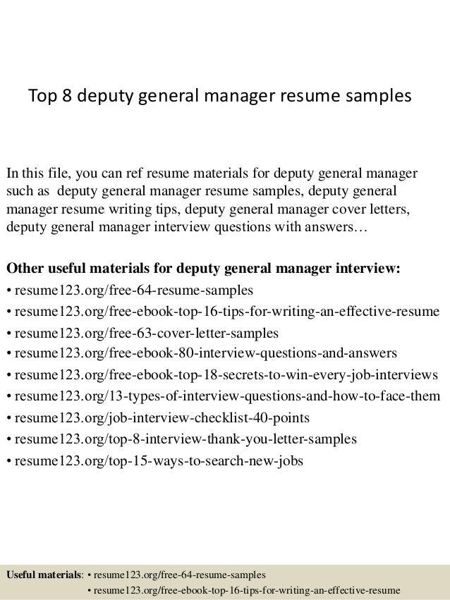 sample general manager resumes