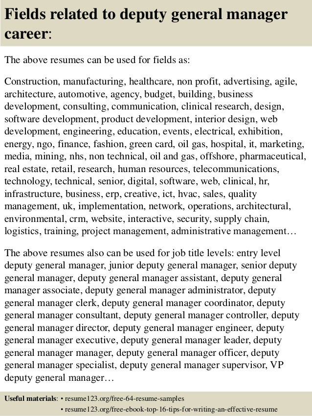 16 fields related to deputy general manager