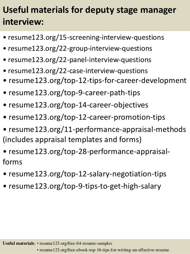 ... 15. Useful Materials For Deputy Stage Manager ...  Stage Manager Resume Template