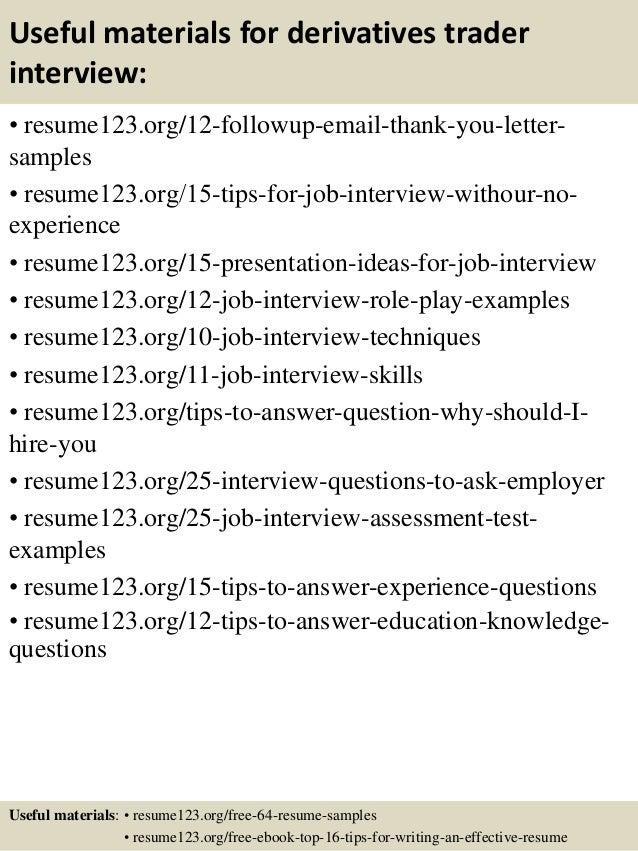 Top 8 derivatives trader resume samples
