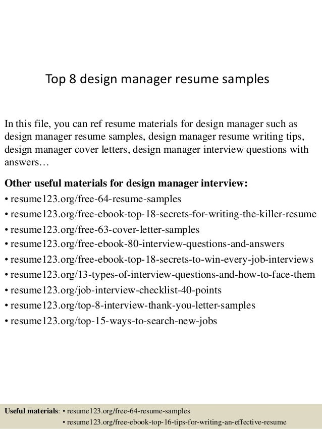 Top 8 design manager resume samples In this file, you can ref resume materials for design manager such as design manager r...