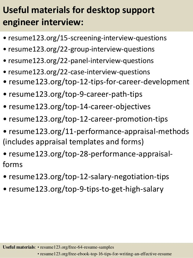 resume desktop support engineer customer support engineer sample ...