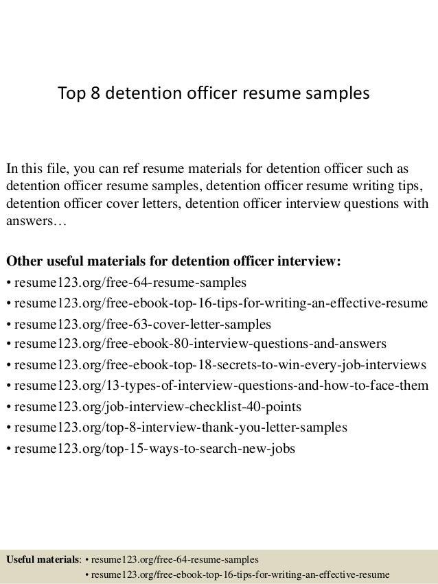 top 8 detention officer resume samples