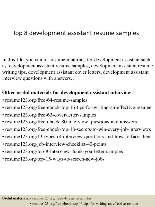 Top 8 development assistant resume samples