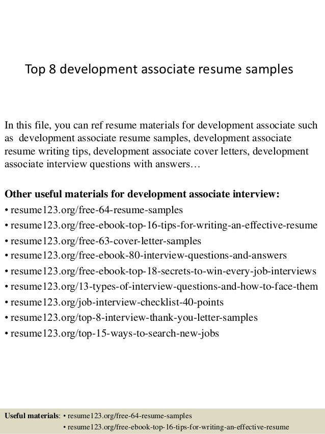 Great Top 8 Development Associate Resume Samples In This File, You Can Ref Resume  Materials For ...
