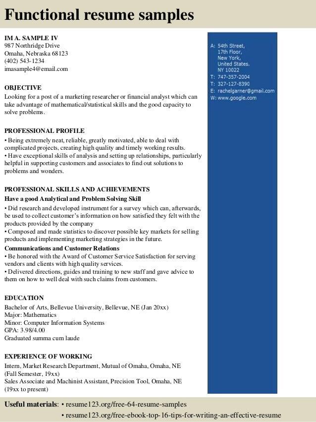 sample financial associate resume