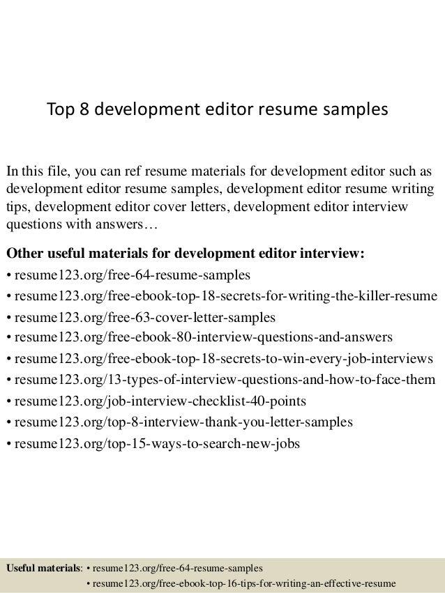 Top 8 development editor resume samples
