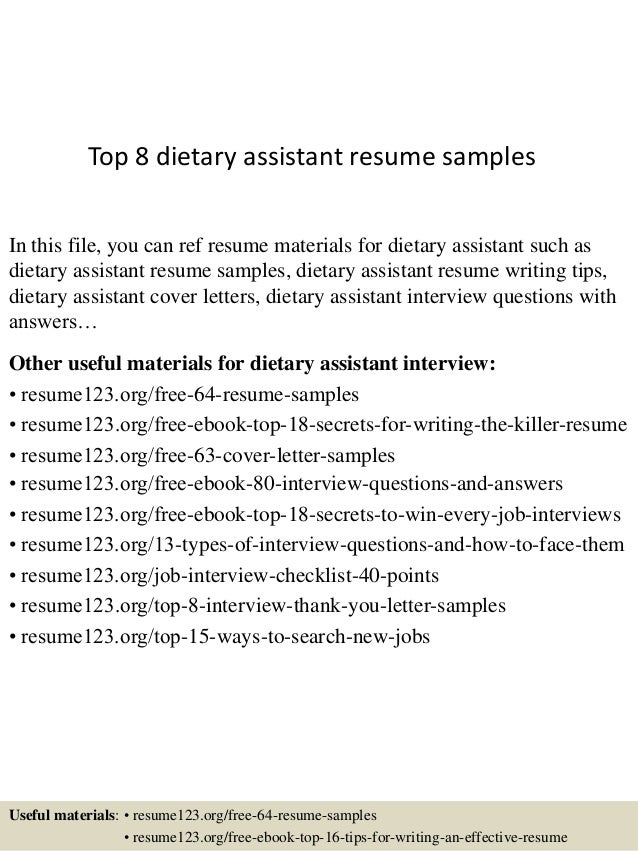 Sample Dietary Aide Resume