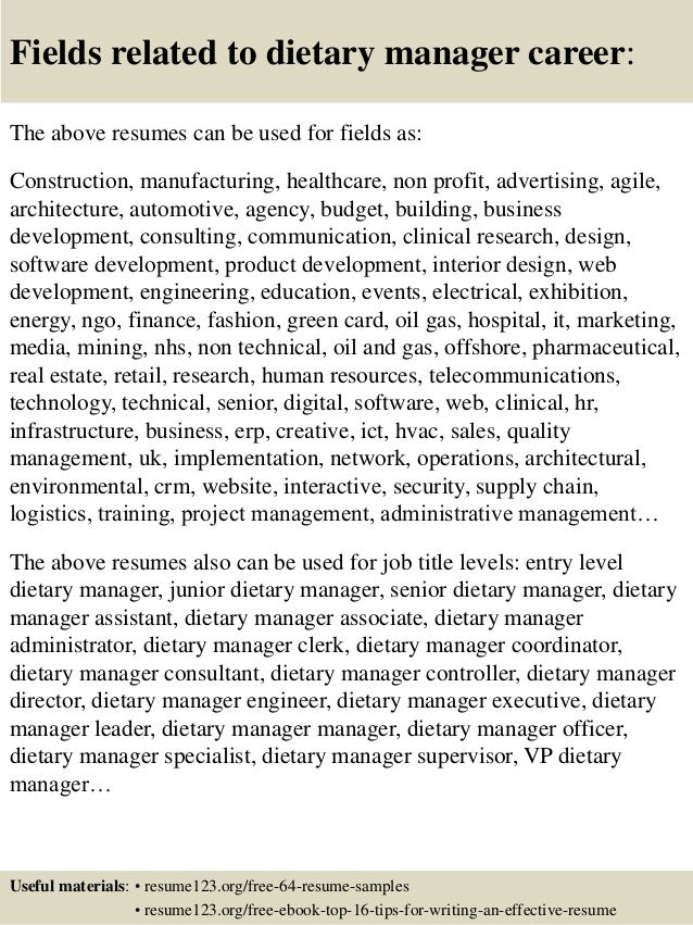 ... 16. Fields Related To Dietary Manager ...
