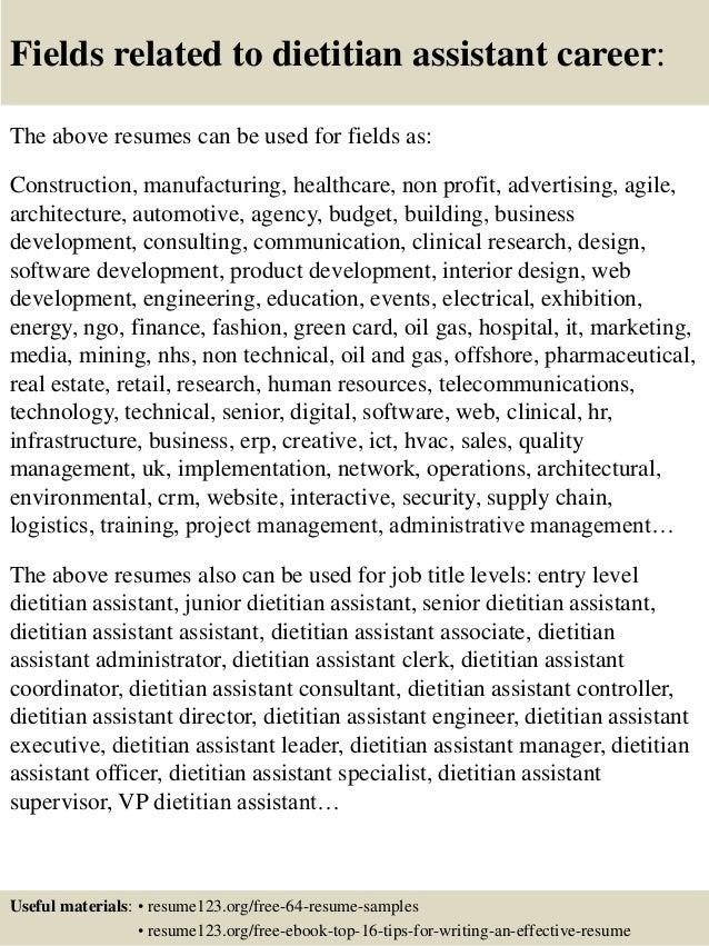 Top 8 dietitian assistant resume samples