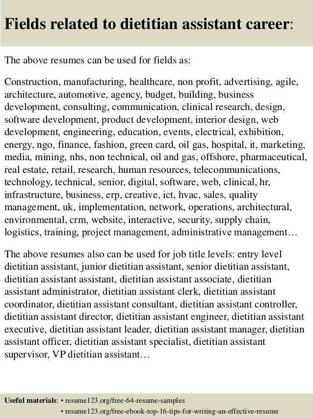 ... 16. Fields Related To Dietitian ...