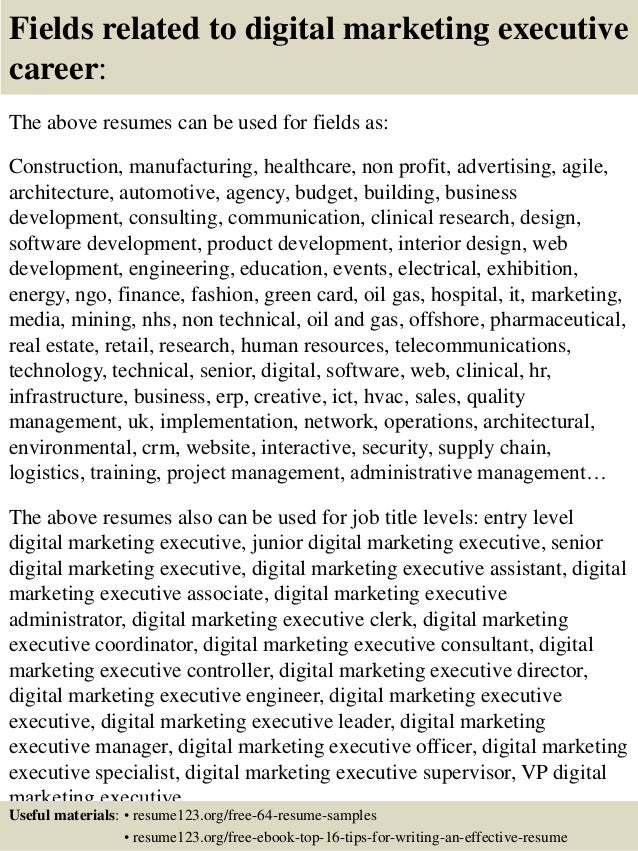 Top  Digital Marketing Executive Resume Samples