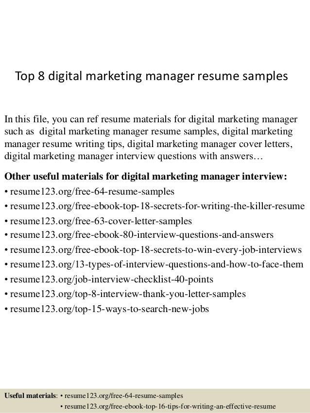 National Sales Manager Resume Samples Etusivu  Digital Marketing Manager Resume
