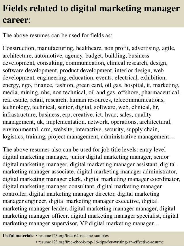 Top 8 Digital Marketing Manager Resume Samples