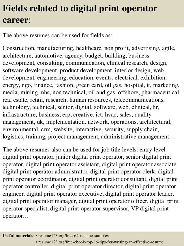 Charming ... 16. Fields Related To Digital Print Operator .