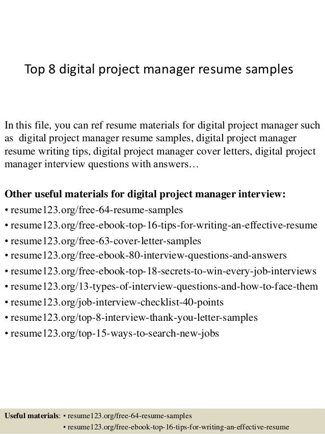 Top 8 Digital Project Manager Resume Samples In This File, You Can Ref  Resume Materials ...