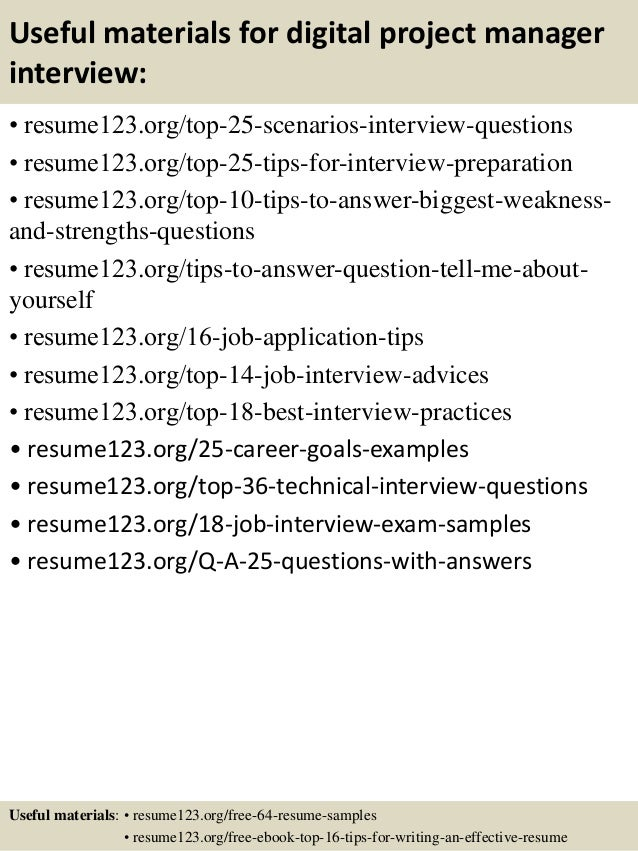 ... 13. Useful Materials For Digital Project Manager ...  Digital Project Manager Resume