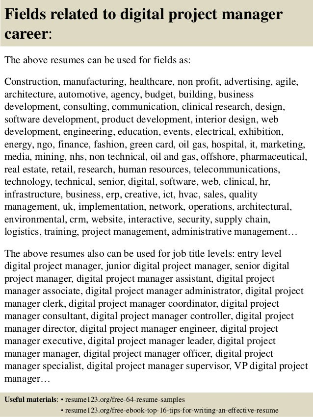 ... 16. Fields Related To Digital Project Manager ...  Agile Project Manager Resume