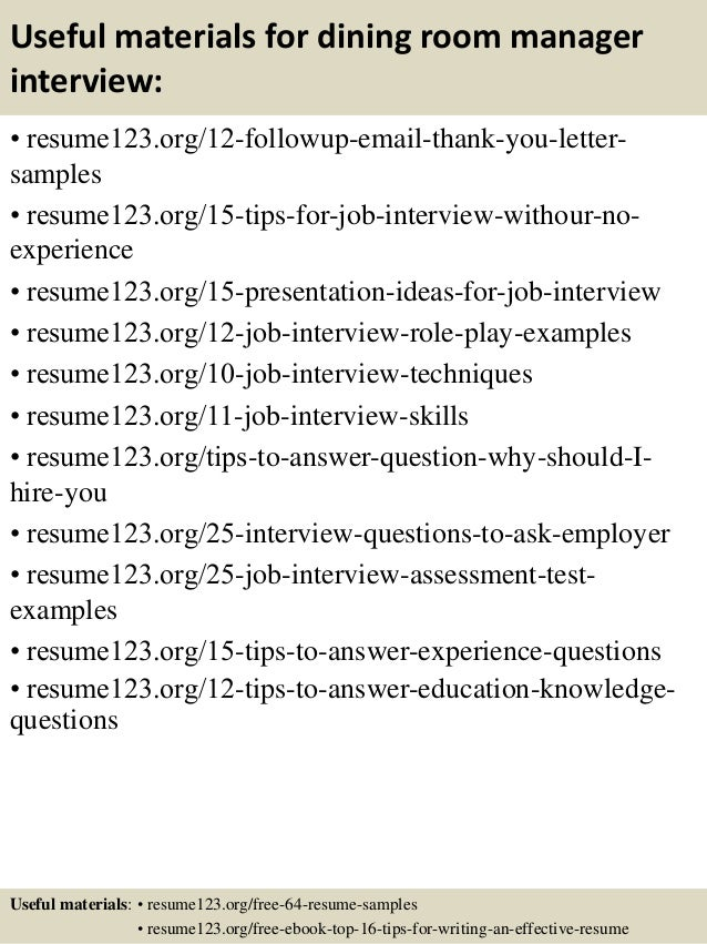 Top 8 dining room manager resume samples