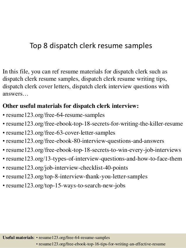 Dispatch Clerk Sample Resume  Top10000dispatchclerkresumesamples1006310000jpgcbu003d100431000610000704 2