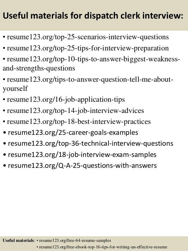 Top 8 Dispatch Clerk Resume Samples