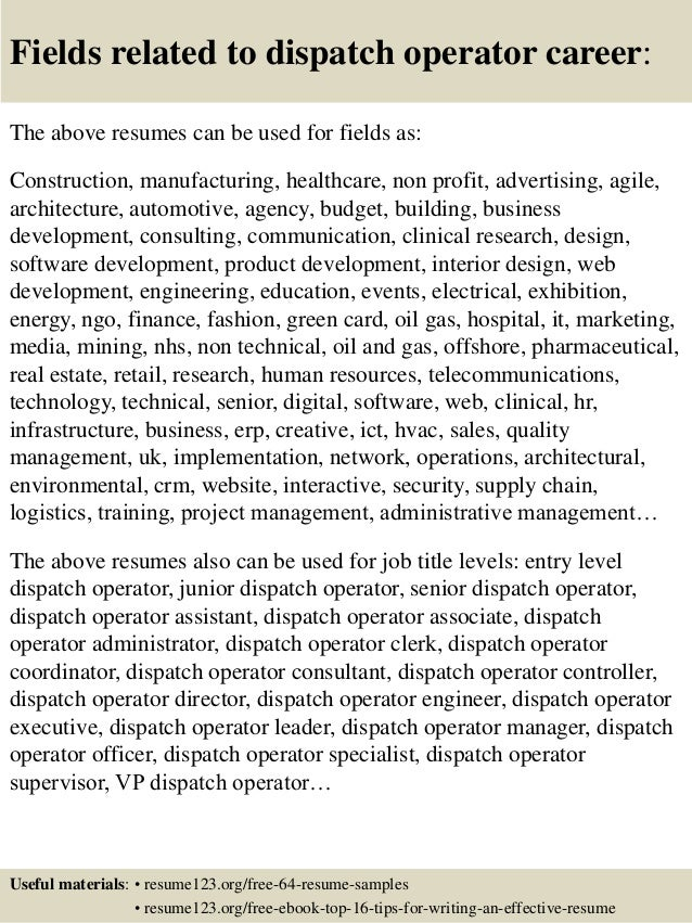 16 fields related to dispatch operator - Dispatch Operator Sample Resume