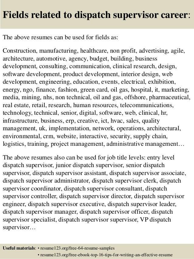 Top 8 dispatch supervisor resume samples