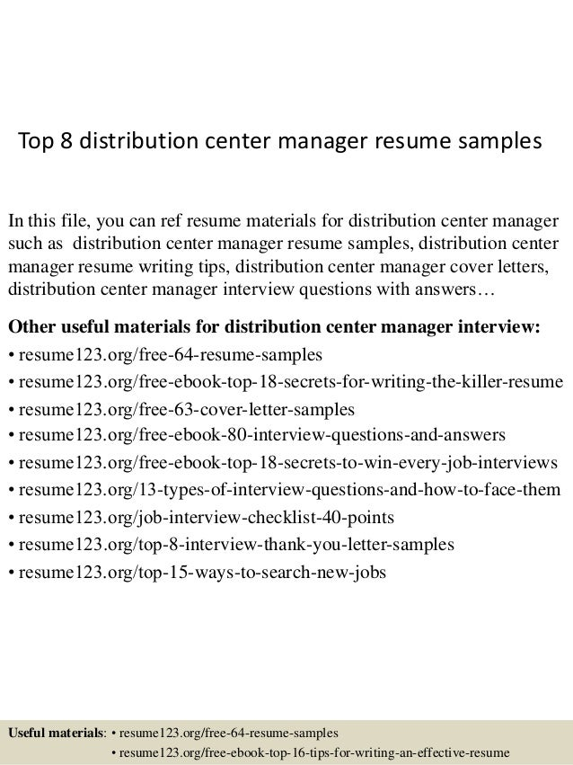 Nice Top 8 Distribution Center Manager Resume Samples In This File, You Can  Ref Resume