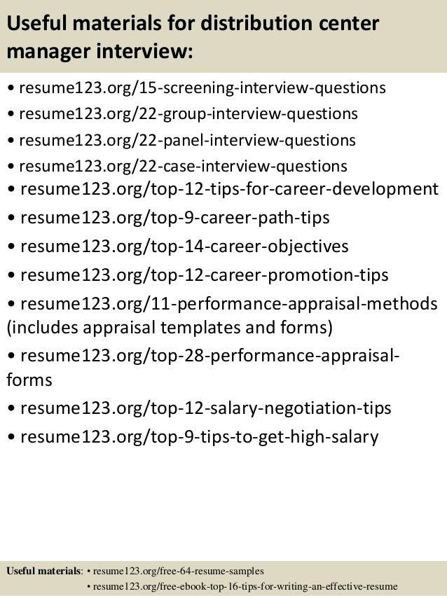 Top 8 distribution center manager resume samples