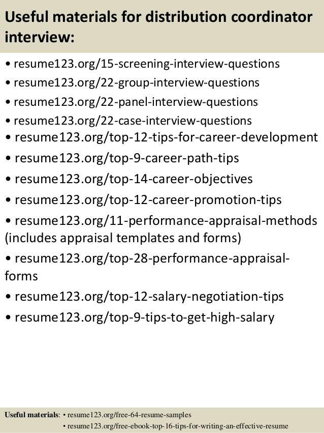 15 useful materials for distribution - Distribution Manager Sample Resume