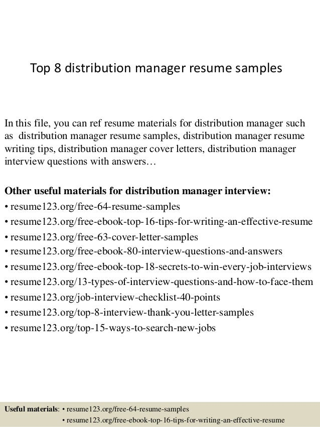 Distribution Manager Cover Letter for Resume