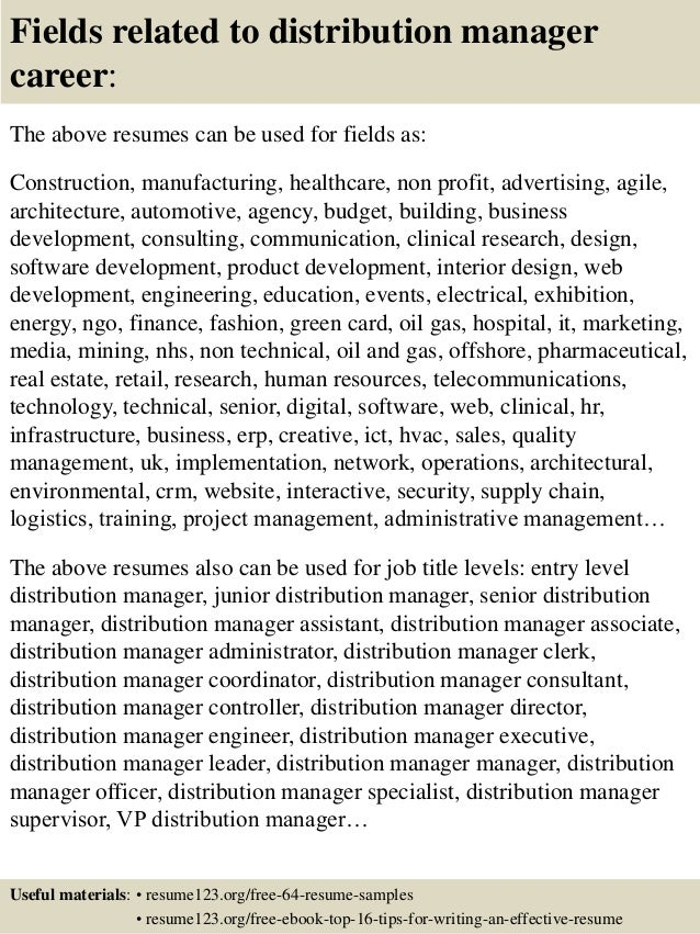 Resume Resume Sample Distribution Manager top 8 distribution manager resume samples 16 fields related to manager