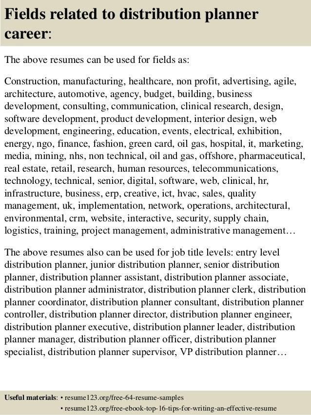 Top 8 distribution planner resume samples