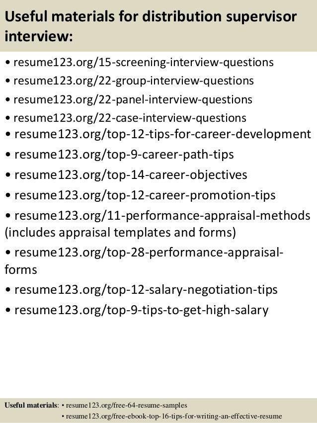 Top 8 distribution supervisor resume samples