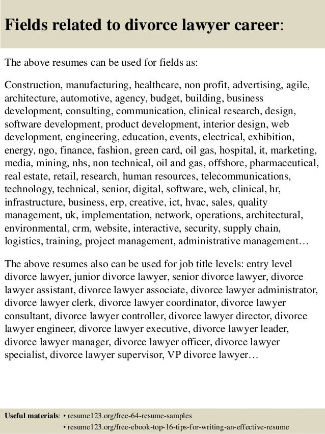 16 fields related to divorce lawyer career the above resumes. Resume Example. Resume CV Cover Letter
