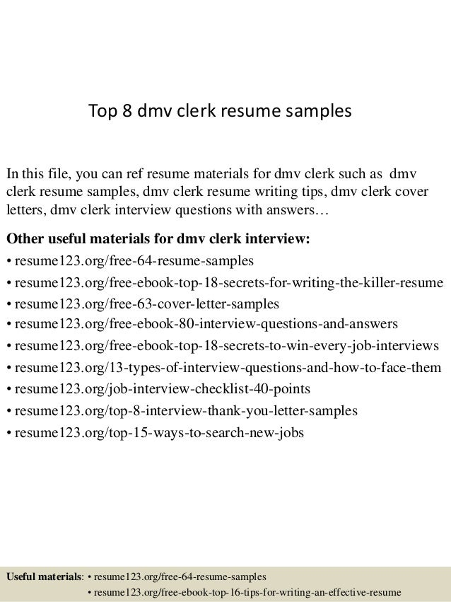 top 8 dmv clerk resume samples