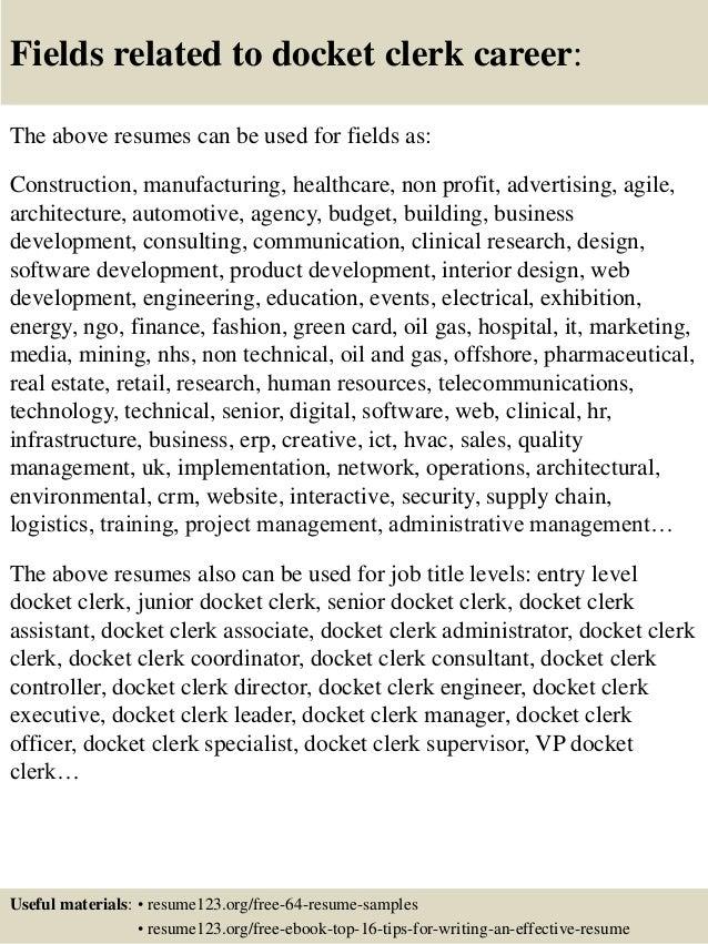 Top 8 docket clerk resume samples