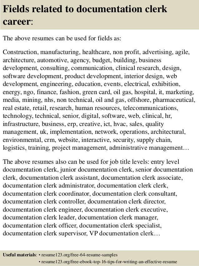 ... 16. Fields Related To Documentation Clerk ...