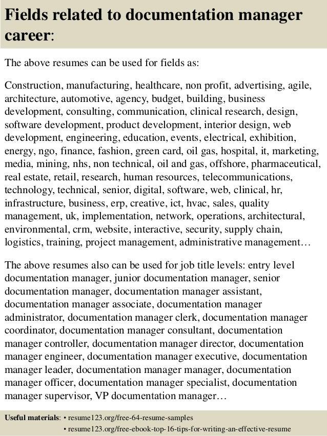 Top 8 documentation manager resume samples
