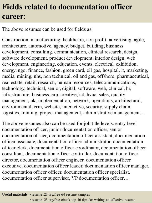 Top 8 Documentation Officer Resume Samples