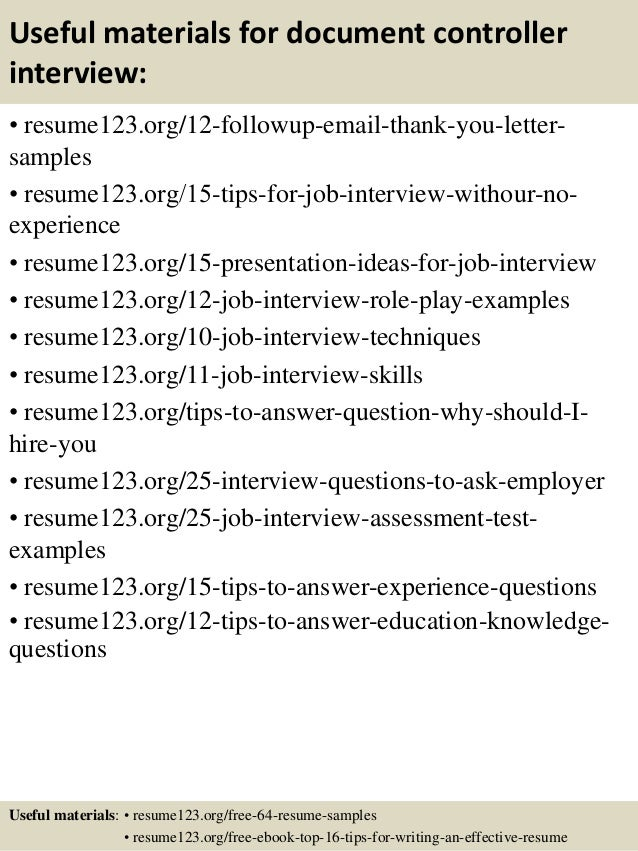 ... 14. Useful Materials For Document Controller ...  Controller Resume Sample