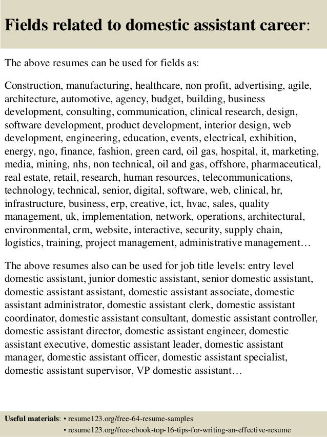 ... 16. Fields Related To Domestic ...