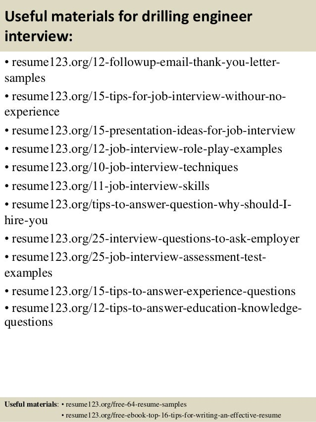 14 useful materials for drilling engineer - Drilling Engineer Sample Resume
